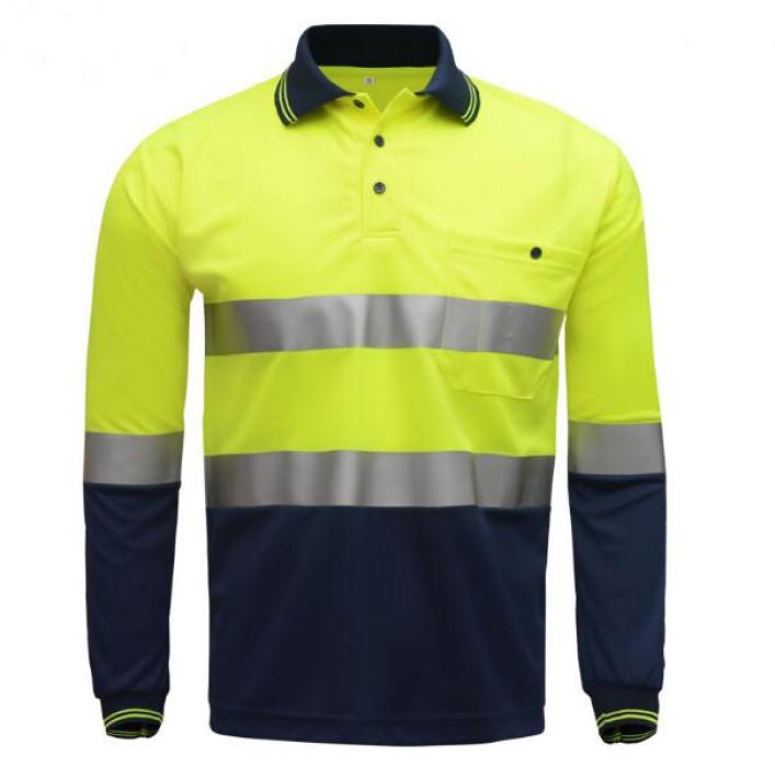 SKRS002  訂造長袖反光polo恤款式   設計道路工作反光polo恤款式   防紫外線   設計拼色反光polo恤款式  反光polo恤中心