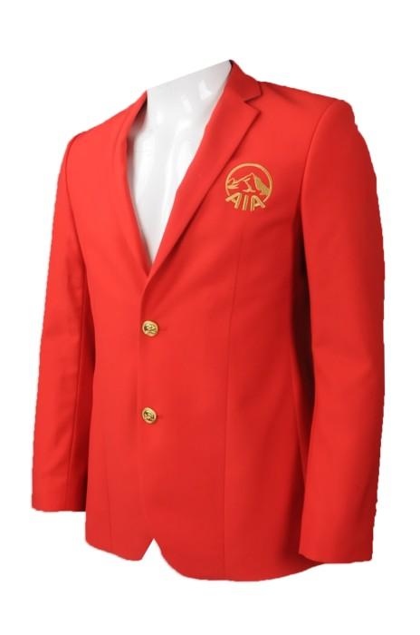 BS355 訂做 AIA 保險行業 西裝外套 設計金色紐扣西裝外套款式  香港 簡森工程 樓面西裝  西裝外套制服公司