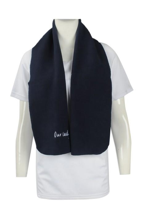 Scarf054 印製淨色圍巾 製作繡花LOGO款圍巾 設計搖粒絨圍巾批發商