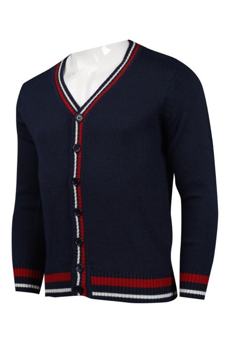 CAR032 設計撞色領開衫外套 2/32支 50%羊毛50%腈綸 399克 冷外套製造商