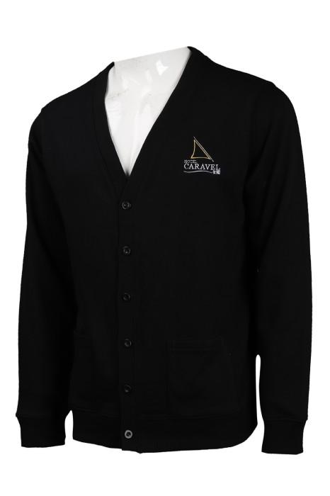 CAR033  製作黑色開衫毛衣 繡花logo針織外套 冷外套生產商