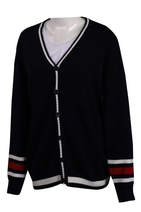 CAR038 設計撞色袖開衫V領外套 2/32只棉 545G 冷外套製造商