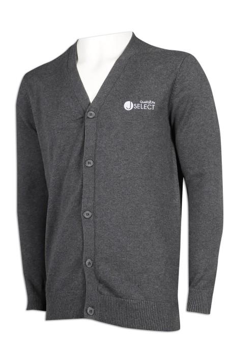 CAR039 訂製男裝V領開衫外套 70%棉 30%尼龍 冷外套生產商