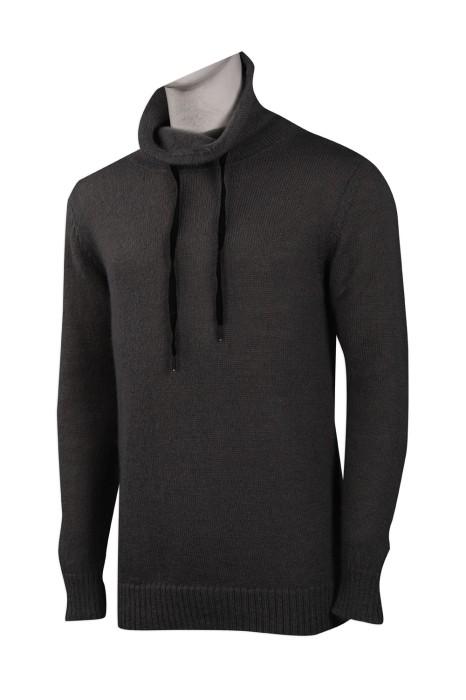JUM048 訂製淨色高領毛衫 索繩 100%涤 HK 毛衫供應商