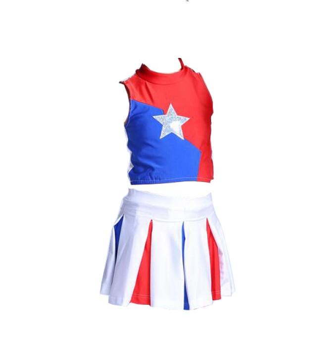 SKCU012 設計無袖上衣啦啦隊服款式  訂造短褲啦啦隊服款式  無袖    自訂百褶裙啦啦隊服款式  啦啦隊服廠房