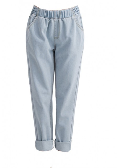 JS002 設計個性牛仔褲款式   訂造女裝牛仔褲款式 洗水 沙洗 橡筋褲頭 吊腳  製作休閒牛仔褲款式  牛仔褲專營