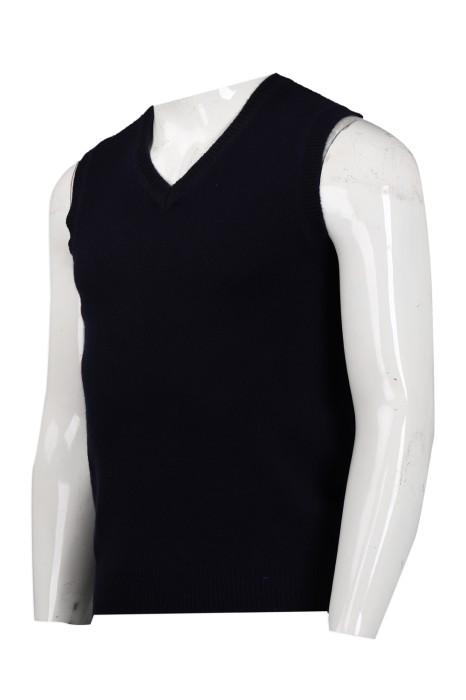 LBX030 供應黑色V領冷背心 2/16s100%羊仔毛 161G lambwool 網上下單冷背心