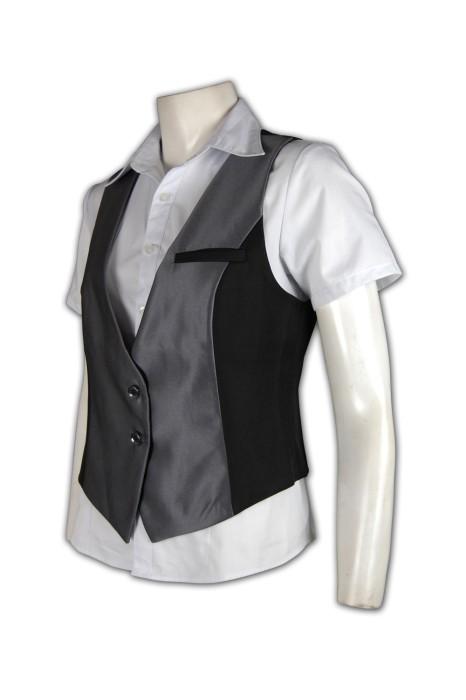 WC004 女裝西服馬甲 來版訂製 拼接馬甲設計 修腰馬甲 馬甲西服專門店