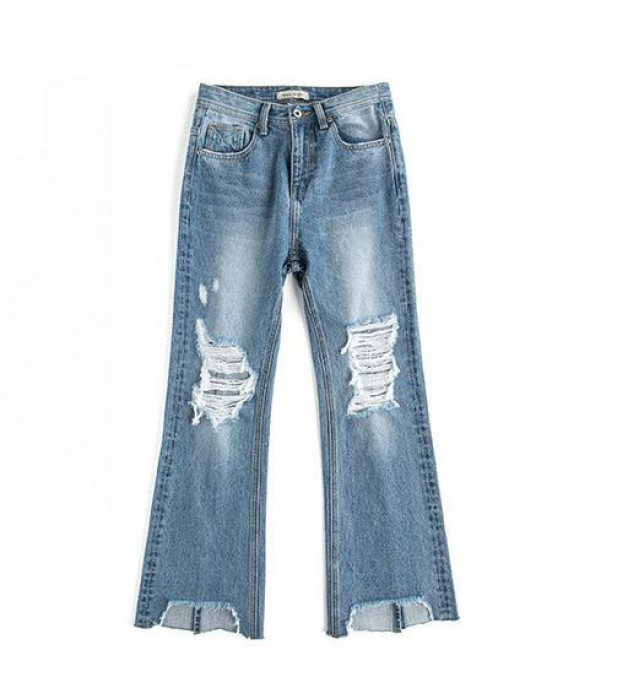 SKHT006 製造高腰破洞褲款式   設計女裝破洞褲款式  穿窿 訂做休息牛仔破洞褲款式   破洞褲製造商
