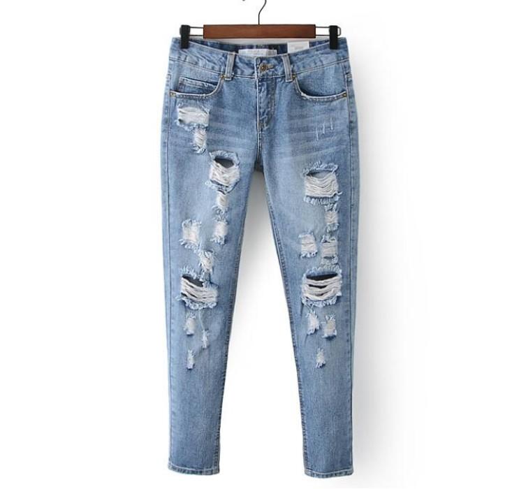 SKHT008 製造水洗牛仔破洞褲款式   設計直筒破洞褲款式  乞丐褲  穿窿 自訂女裝破洞褲款式   破洞褲工廠