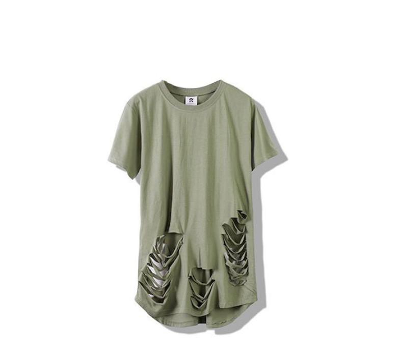 SKHS005 訂做歐美破洞T恤款式   設計男裝破洞T恤款式  穿窿  製作破洞T恤款式  破洞T恤生產商