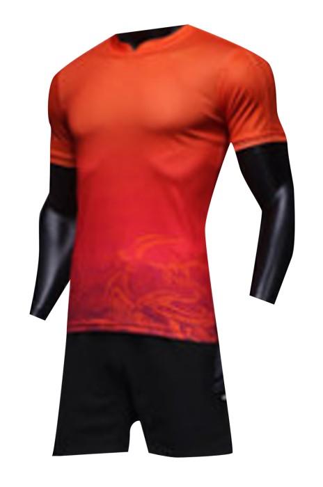 SKWTV053 製作夏季短袖足球訓練衫 圖案紋理 波衫製造商