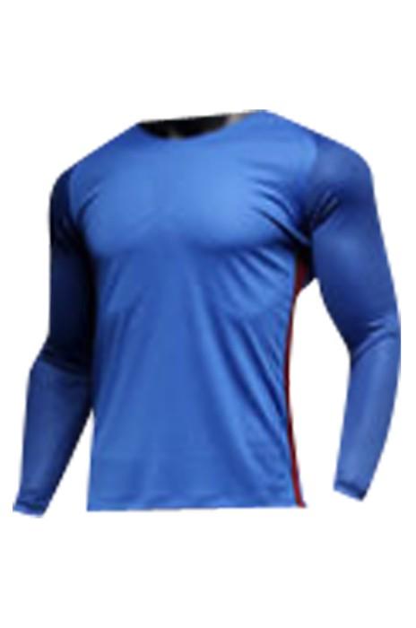 SKWTV059 訂做長袖足球訓練隊衫 羅紋領口拼接 波衫供應商