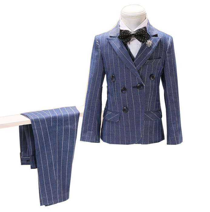 SKCST015 製造條紋兒童西裝款式  條紋  五件套 花仔禮服 表演 面試 喜慶活動  兒童西裝工廠