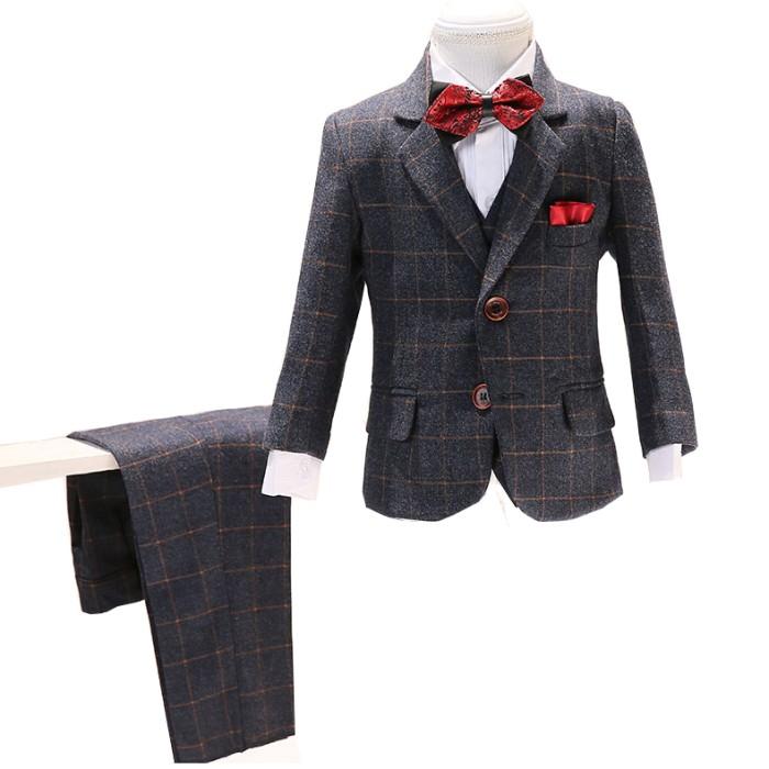 SKCST016 自訂格仔兒童西裝款式  格仔西裝  花童禮服  兒童西裝廠房