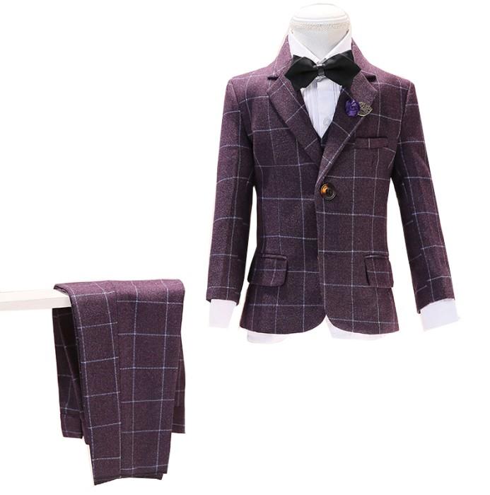 SKCST019 訂造格仔兒童西裝款式  五件套 花仔衫 花童禮服  兒童西裝製衣廠