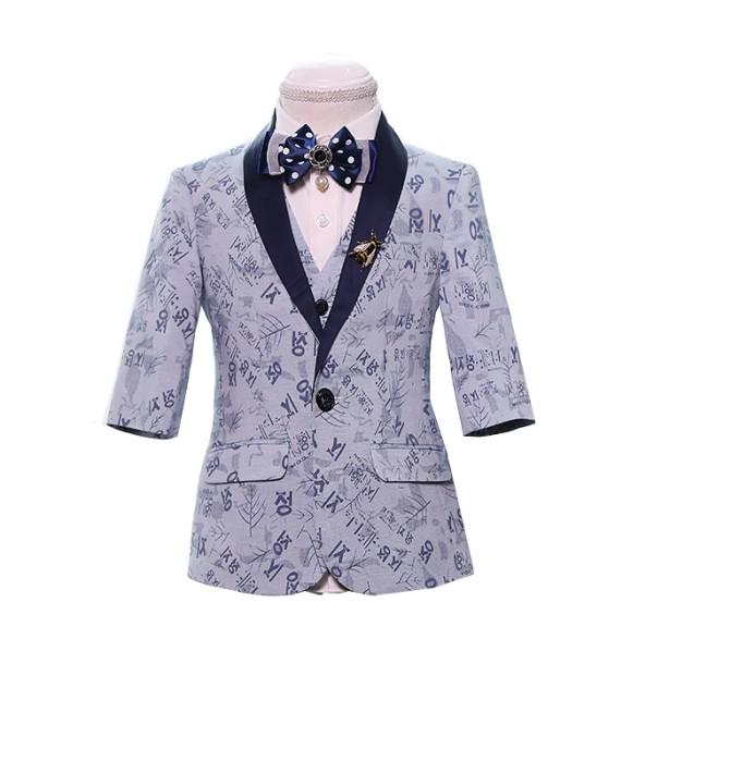 SKCST022 訂做短款兒童西裝款式  七分袖  表演服 花仔衫 花仔 禮服 兒童西裝製造商