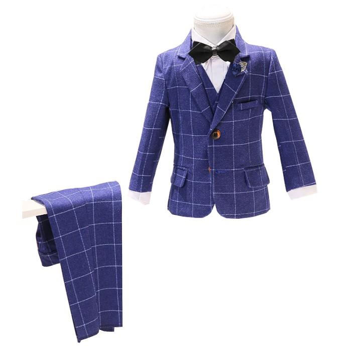SKCST023 製作兒童西裝套裝款式  花仔 禮服 格仔西裝  五件套 花仔衫 兒童西裝工廠
