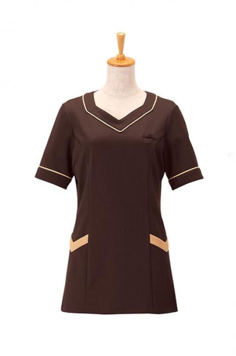 SKBB014 訂購美容會所制服上衣 咖啡色水療休閒中心制服 制服供應商