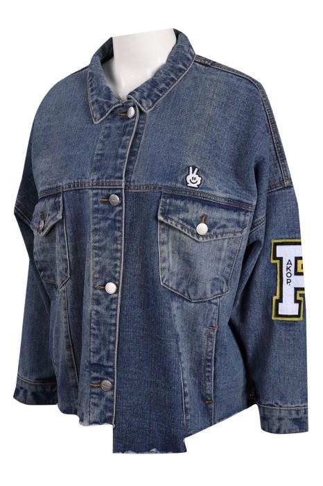 JN012 製作磨邊牛仔外套 袖口拉鏈 牛仔褸生產商