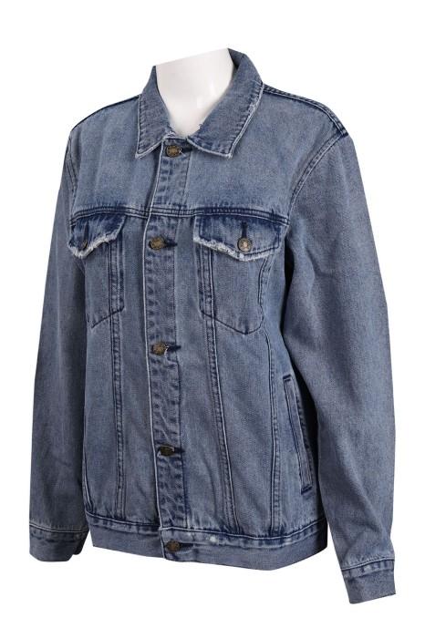JN013  訂製藍色牛仔外套 牛仔褸製衣廠