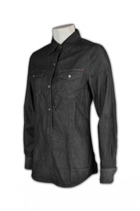 JN015 訂造牛仔洗水恤衫  雙胸袋 訂購優惠牛仔襯衫 牛仔襯衫  恤衫制服供應商
