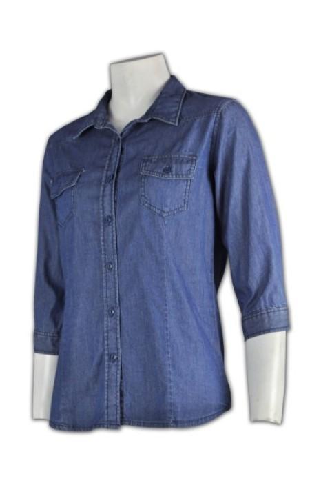 JN016 訂購團體恤衫 量身訂造牛仔襯衫  3/4 袖 7分袖 雙胸袋  牛仔襯衫 設計恤衫款式  恤衫製衣廠