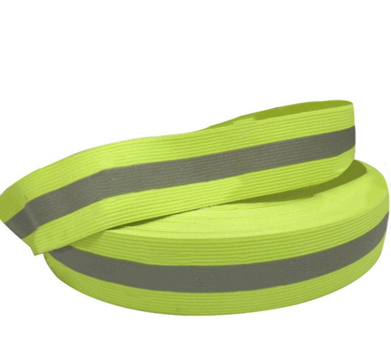 HZ- LIAN  反光松緊帶 螢光黃彈力反光帶服裝松緊反光織帶  滌綸  LA-6009   4*1.5cm / 5*2cm