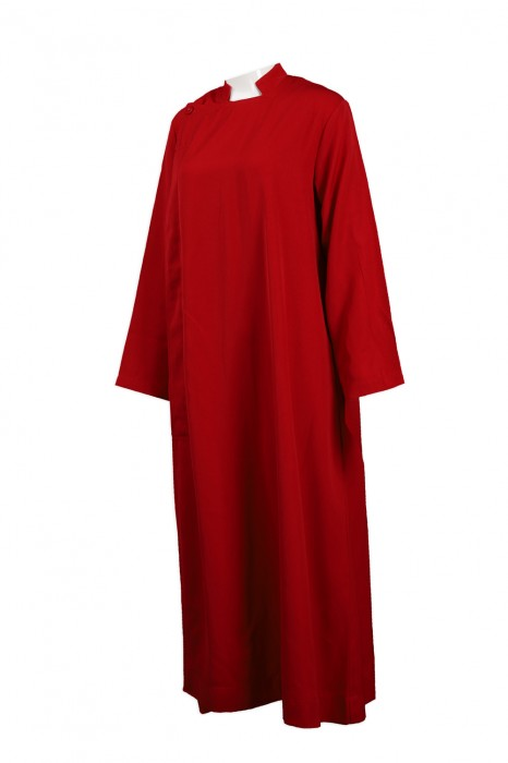 CHR014 設計紅色聖詩袍 長款聖詩袍 司禱 輔祭 聖詩袍生產商