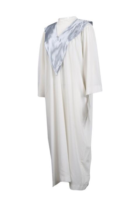 CHR015 訂製白色長款聖詩袍 司禱 輔祭 聖詩袍製造商 佈道會 播道會 歌詠班 詩歌班
