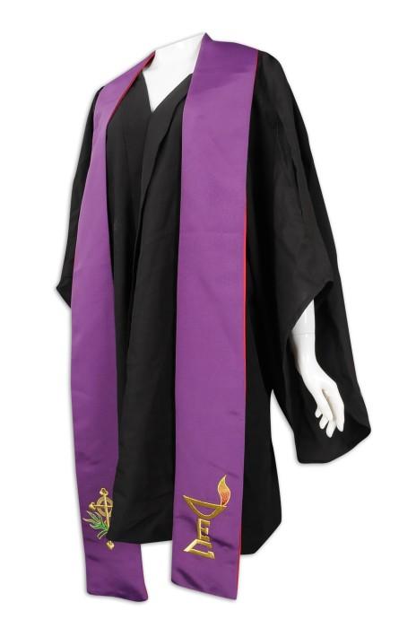 CHR018 製作黑色聖詩袍  牧師袍  牧師聖帶  聖詩袍專門店 佈道會 播道會