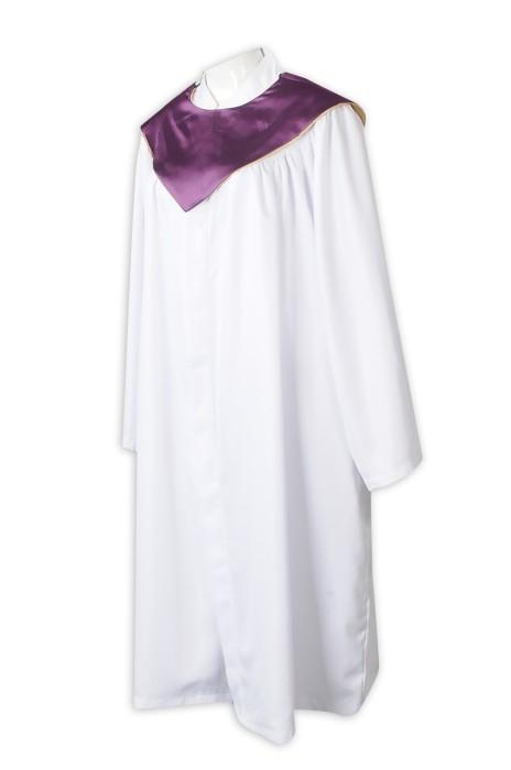 CHR020  設計白色聖詩袍   訂做長款聖詩袍  聖詩袍專門店   紫色 披肩