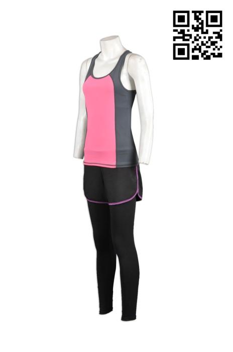 TF007訂製背心T恤運動裝  訂購運動套裝中心  設計假兩件褲褲款式  訂造跑步運動服批發