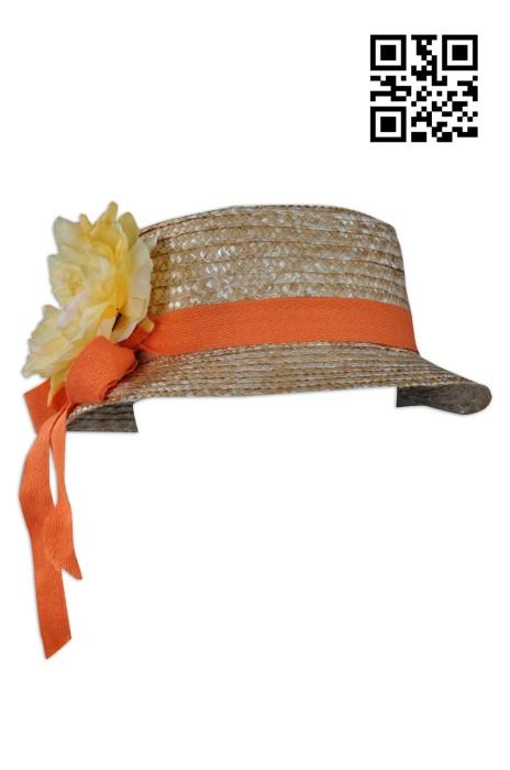 HA229製造帶花兒童遮陽帽 藤帽  草帽 藤織帽 大量訂造太陽帽 設計編織太陽帽 太陽帽製衣廠