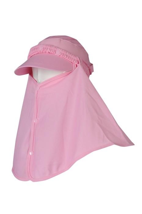H322 製造防曬帽子 訂購夏天遮陽帽 遮臉戶外騎車防風空頂太陽帽  粉紅色