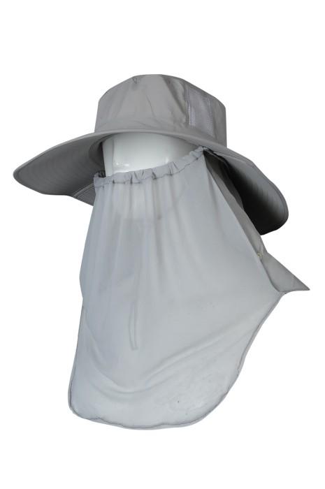 H324 製作折疊防曬帽  供應遮臉釣魚帽 騎車防風帽 透氣運動帽  登山戶外防蚊釣魚帽 灰色