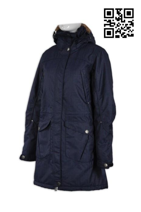 J538設計時尚長款外套 訂製修身女外套 夾棉 帽有毛 長風衣 英文 御寒 禦寒 保暖  長身風褸袍 冬季禦寒大褸 個人設計長款外套 風褸外套中心
