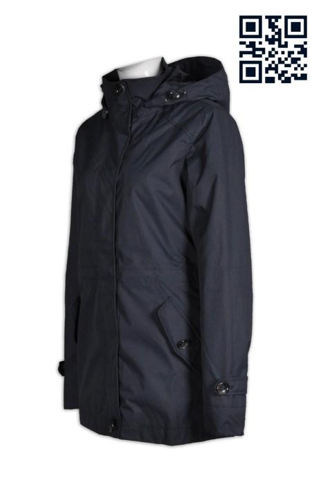 J562設計加厚長款女士風褸  製造保暖女士風褸  魔術貼門襟 袋唇大鈕 帽可拆 度身訂造厚外套女 外套製造商