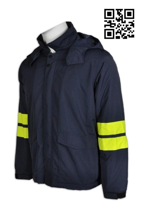 J606製造連帽風樓外套   訂做男裝風樓外套款式  肩章套位 可拆啪鈕帽 訂印風樓外套款式   風樓外套供應商