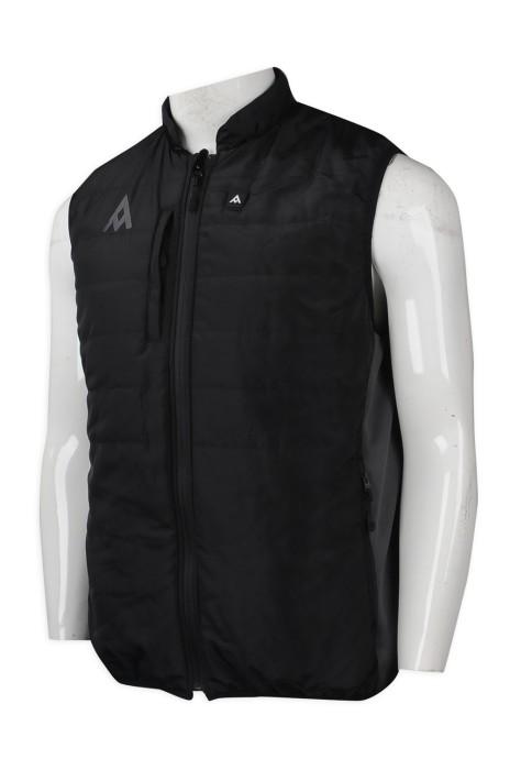 J784 訂做夾棉拉鏈背心外套  夾棉背心外套hk中心