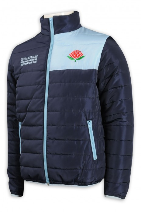 J835 訂購撞色羽絨外套 加厚保暖 澳洲 TFS 100%尼龍  國際 馬術學校 羽絨外套製造商