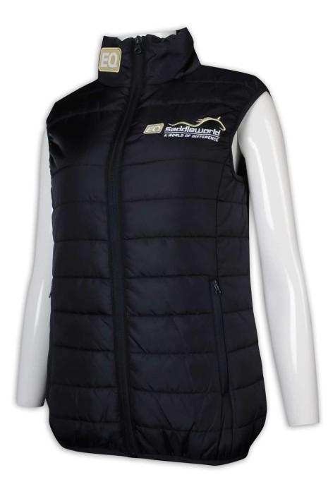 J868 制定夾棉羽絨外套 燙字 後領繡花 拉鏈背心外套 夾棉背心外套 夾棉羽絨外套生產商