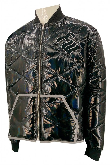 J869   設計繡花大logo   訂做拉鏈羽絨外套  後領繡花   夾棉羽絨外套生產商   美國   零售行業    亮光布 飛機褸款 金屬拉鍊
