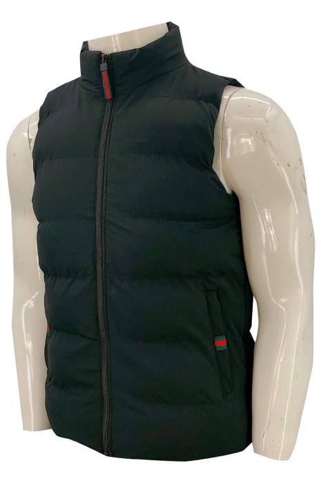 J870   訂做夾棉羽絨外套  拉鏈背心外套  夾棉背心外套  夾棉羽絨外套生產商   淨色 拉鍊頭設計 袋口織嘜 設計