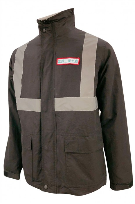 J872  設計反光條夾棉外套制服    訂做魔術貼夾棉外套   繡花章    工業大廈    保安  100%尼龍   夾棉羽絨外套生產商   正方 魔術貼 衫袋設計