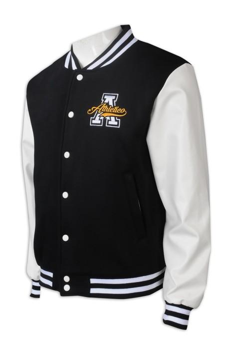 Z496 訂做棒球褸 男裝 拼色領  拼色袖口  拼色衫邊  Logo   棒球褸專門店   黑色撞色白色