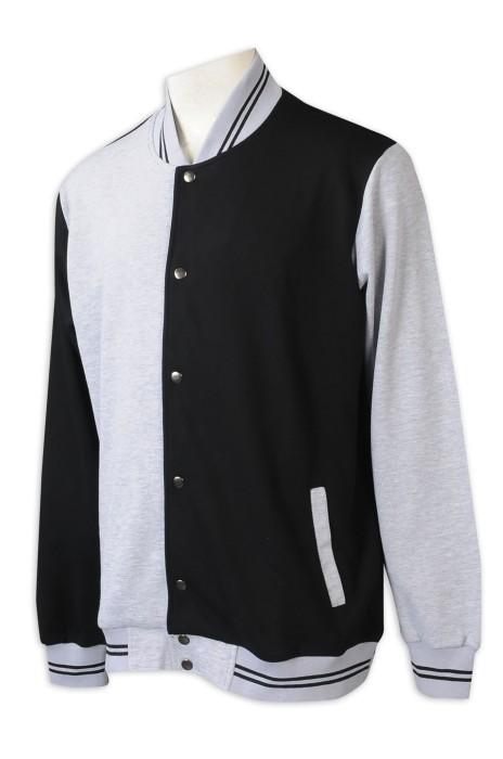 Z502 訂做棒球褸 男裝 時尚設計拼色領拼色袖印花Logo棒球褸 棒球褸供應商 啪鈕棒球褸