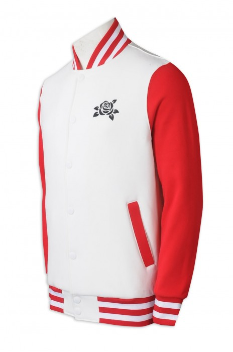 Z516  訂製棒球褸   男裝  時尚設計拼色領  拼色袖  拼色衫邊  扣鈕棒球褸  印花logo   棒球褸供應商   香港   活動