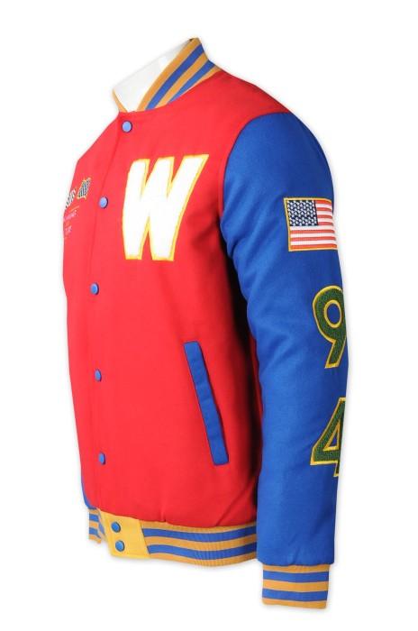 Z540   製造棒球褸啪鈕棒球褸   設計繡花LOGO   夾棉棒球褸  logo剪絨   棒球褸中心 零售  美國