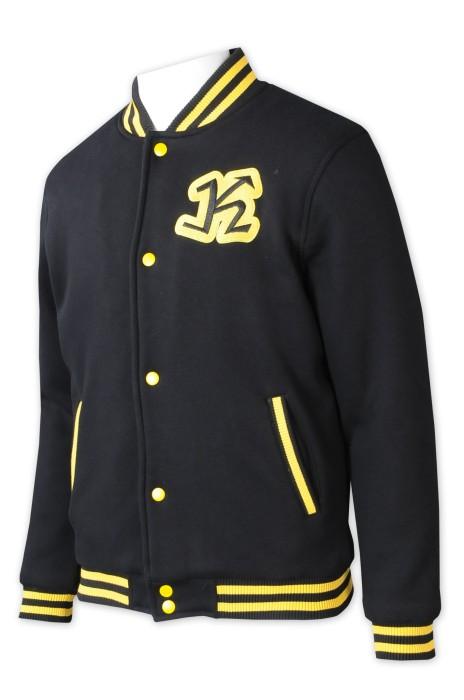 Z542  設計啪鈕棒球褸   訂做撞色橫條領   絲印logo    棒球褸工廠   棒球褸設計公司